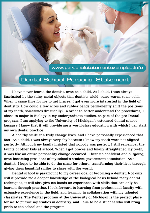 dental school essays examples of personal statements for dental  learn from great dental school personal statement examples effective dental school personal statement examples