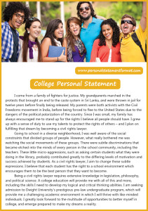 college personal statement format