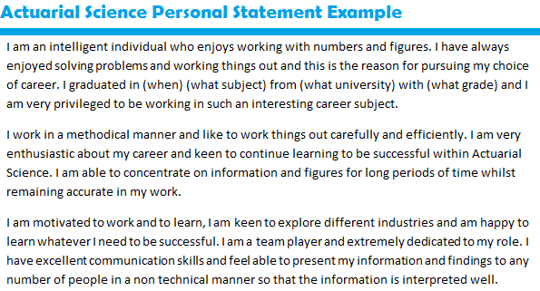job application personal statement samples