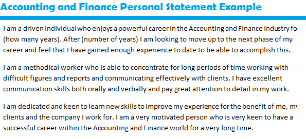 personal statement for accounting and management