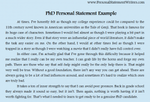 PhD Personal Statement Example