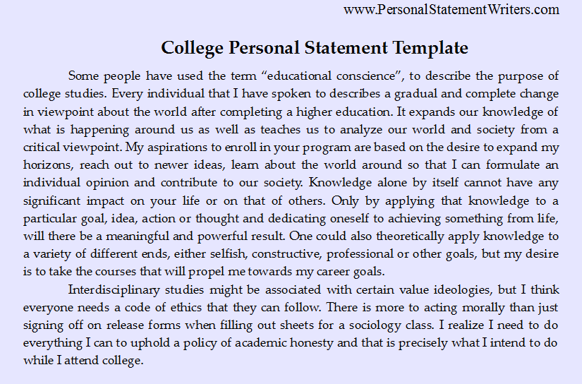 Personal statement essay examples for college