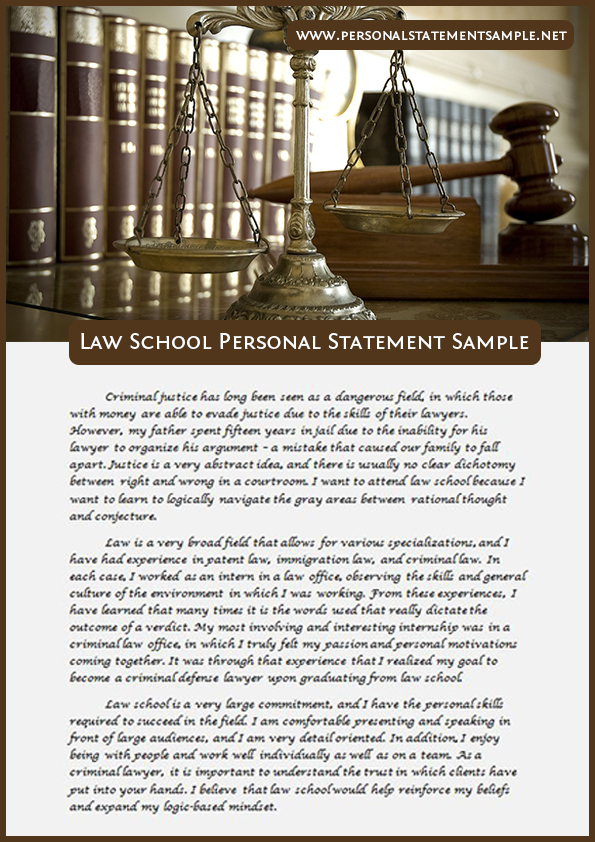 personal statement examples law and criminology      Example personal statement for application to law school