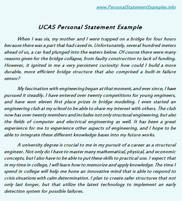 good ucas personal statement examples