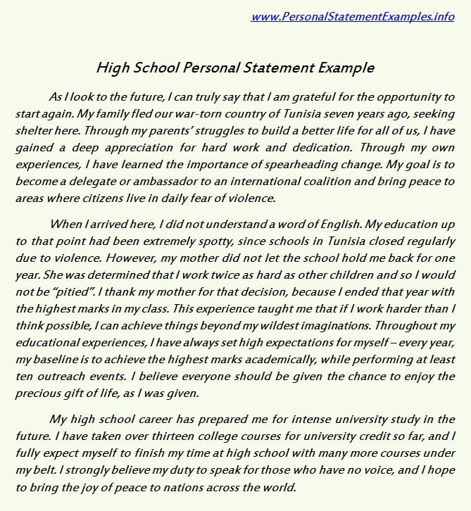 personal statements for high school students