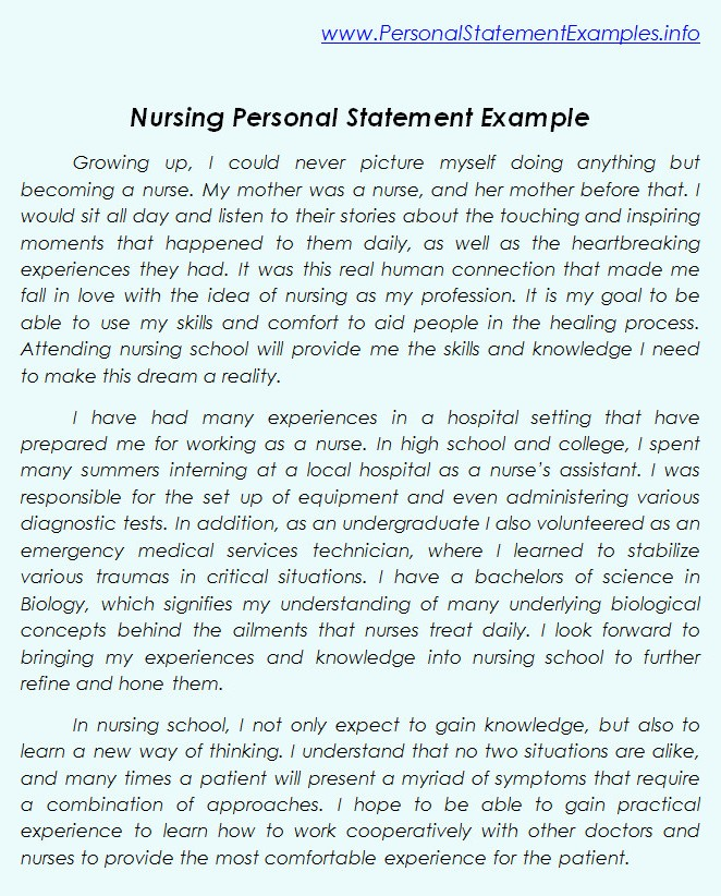 Personal Statement For Nursing Template - Best Template Collection