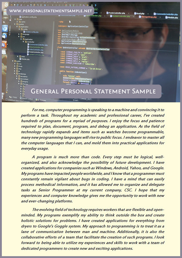 General personal statement