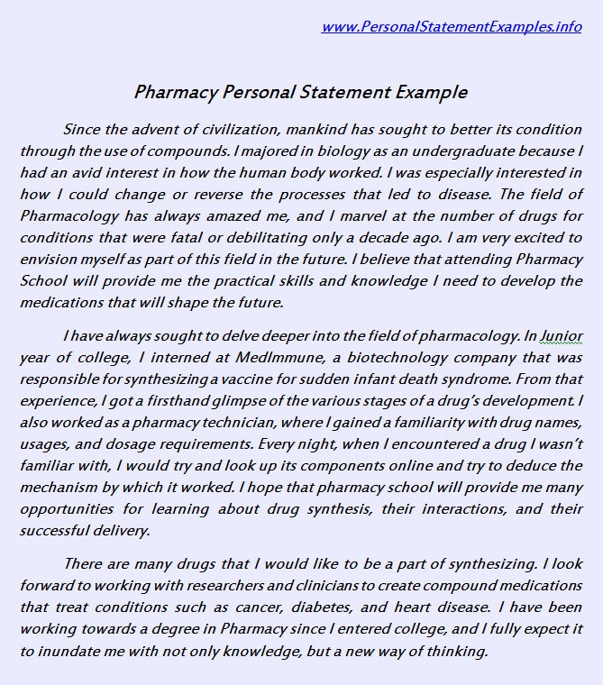 Avail Expert Written Pharmacy Personal Statement Example