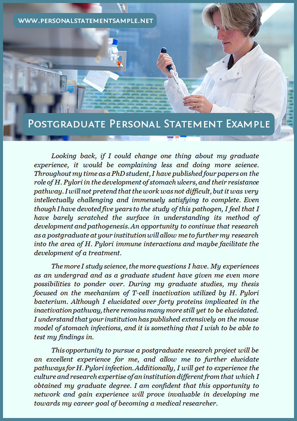 Help writing personal statement postgraduate study applications