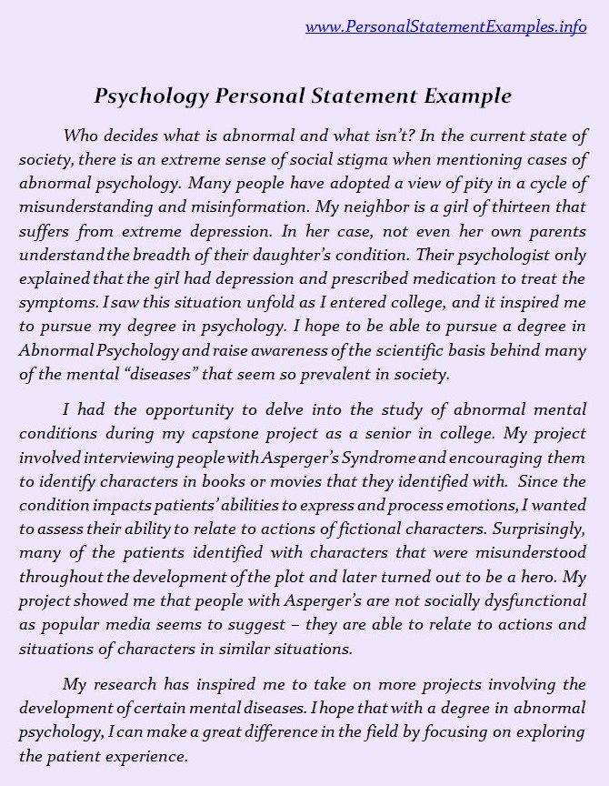 personal statement for phd program in psychology