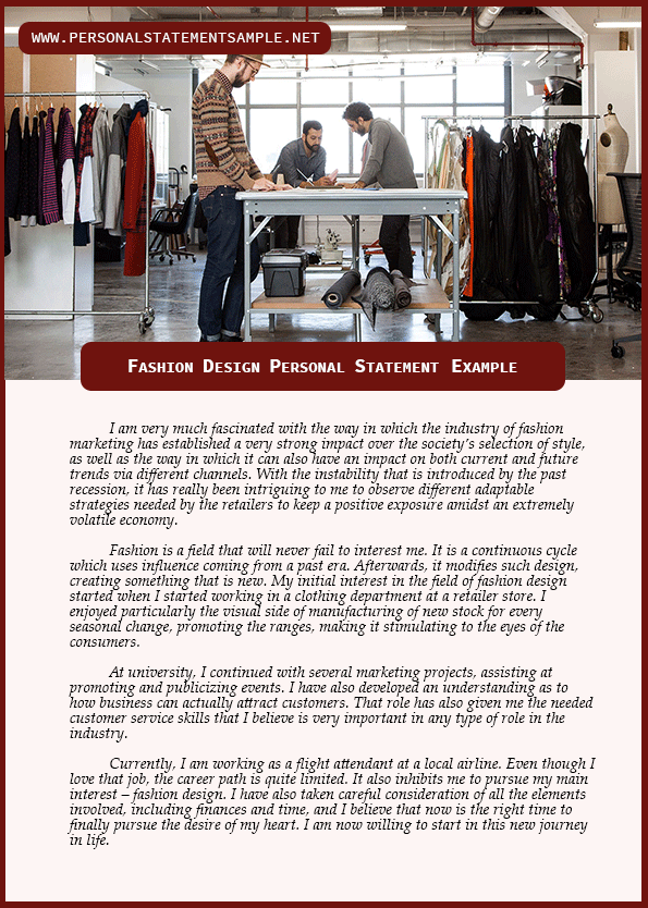 Get The Best Fashion Design Personal Statement Examples