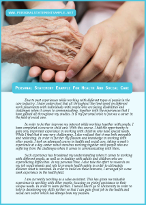 Personal Statement Example for Health and Social Care