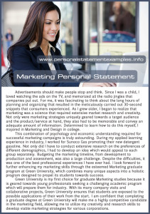marketing personal statement example