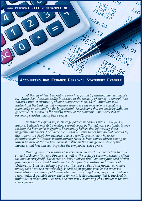 Personal Statement:Accounting and Finance 3 - The Student Room