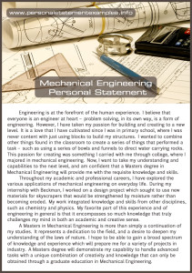 mechanical engineering personal statement example