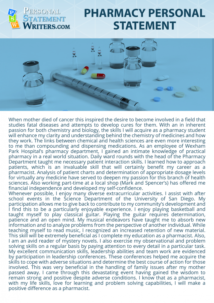 Pharmacy school essay sample