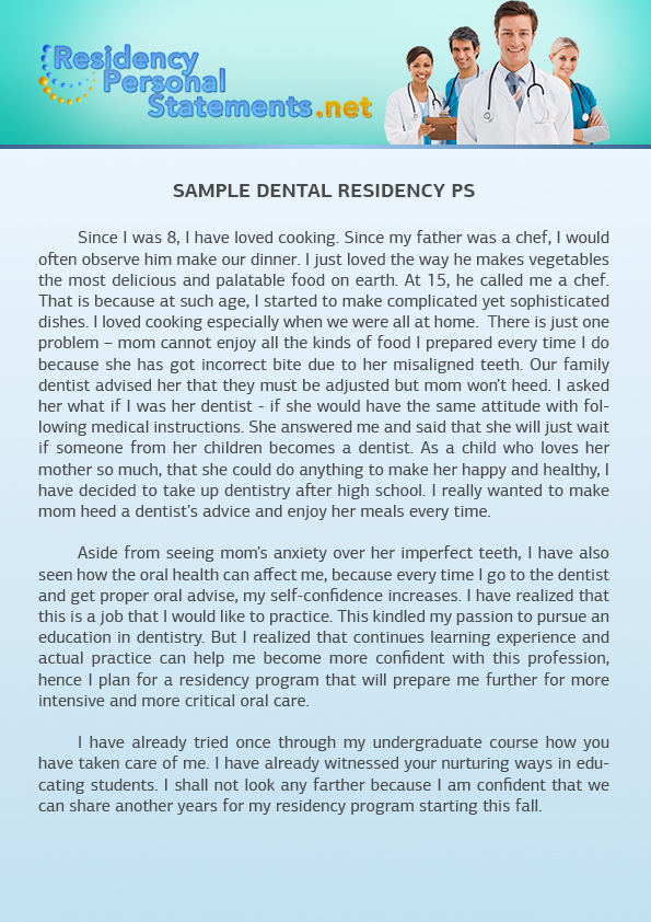 dental school personal statement example